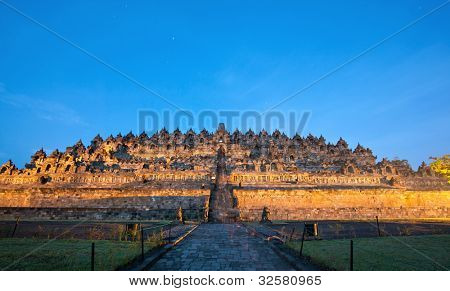 Borobudur Temple Morning before Sunrise with Star Trail in Yogyakarta, Java, Indonesia.