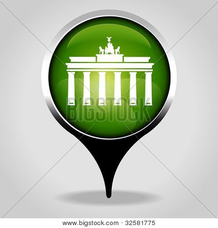 Brandenburg Gate, Realistic interface button with the tourist sign. File is saved in AI10 EPS version. This illustration contains a transparency