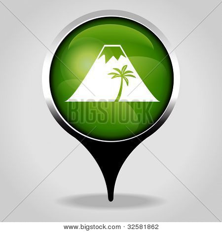 mountain and palm tree, Realistic interface button with the tourist sign. File is saved in AI10 EPS version. This illustration contains a transparency