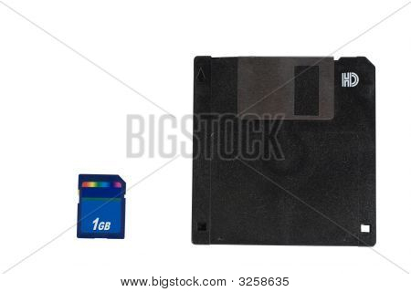 Old Floppy Disk And 1 Gb Flash Card