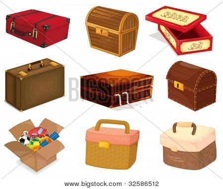 A collection of various bags and boxes