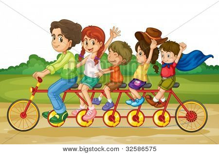 Family riding on same bike in park
