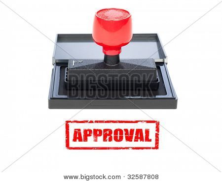 A red approval stamp on a white background with grunge stamp.  Designer can cut either the rubber stamp out for singular use or the grunge stamp, or choose to use both.