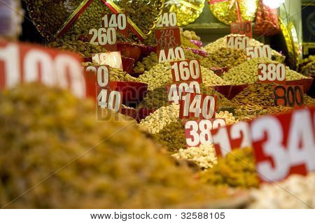 Sac Of Spices And Nuts At A Market