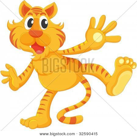 Isolated tiger on a white background