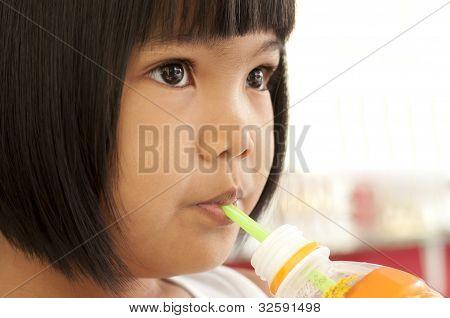 Asian Children Drinking Water