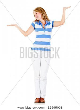 Indecisive woman choosing between two options - isolated over white