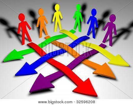 Zeichen und Pfeile Business Team, Teamarbeit, Arbeitsbeziehungen