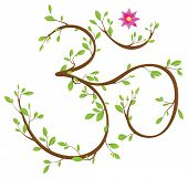 Om symbol made of twigs, leaves and a blossom. Om or Aum is a sacred syllable in Hinduism, Buddhism