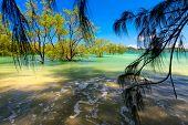 Idyllic tropical beach in Ko Phayam island, Thailand poster