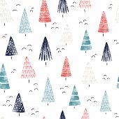 Christmas Watercolor Background. Seamless Pattern Hand Drawn Trees. Decorative Holiday Background. W poster