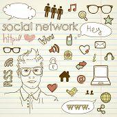 Постер, плакат: Социальные медиа сети связи рисунков