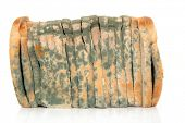 pic of penicillin  - Moldy sliced bread loaf over a white background - JPG
