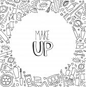 Make Up Hand Drawn Outline Doodle Background With Lipstick, Mascara, Powder, Shades, Brush, Handwrit poster