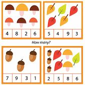 Counting Educational Children Game. Study Math, Numbers, Addition. Autumn Theme Kids Mathematics Act poster
