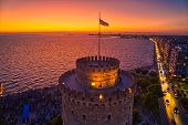 Aerial View Of Famous White Tower Of Thessaloniki At Sunset, Greece. poster