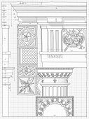 Blueprint - hand draw sketch doric architectural order based