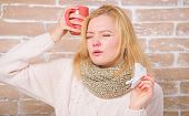 Girl Hold Tea Mug And Tissue. Runny Nose And Other Symptoms Of Cold. Drinking Plenty Fluid Important poster