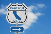 California Road Trip Highway Sign, California Map And Text Road Trip On A Highway Sign With Sky Back poster