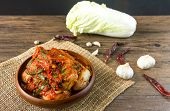Traditional Korean Kimchi In A Bowl On Wooden Background, Top View, Korean Food ,korean Food Traditi poster