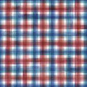 Watercolor Stripe Plaid Seamless Pattern. Colorful Blue And Red Stripes On White Background. Waterco poster