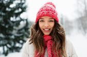 people, season and christmas concept - portrait of happy smiling teenage girl or young woman outdoor poster