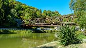 Idyllic Lahn River With Iron Railway Bridge In Summer poster