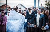 MUKACHEVO - APRIL 15:Easter, parishioners of the Orthodox Church. Ceremony of illumination. Easter C