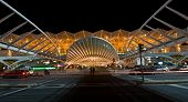 stock photo of calatrava  - modern railway station Oriente at the expo park in Lisbon at night - JPG
