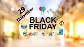 Black Friday November 29 Text On Blurred Illuminated Shopping Mall Background poster