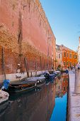 Beautiful Venice Canal In Early Morning Light. Old Narrow Canal With Parked Boats, Venice, Italy. poster