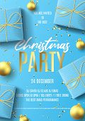 Merry Christmas Party Flyer Invite. Holiday Poster With Realistic Blue Gift Boxes, Christmas Golden  poster
