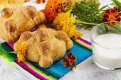 Traditional Mexican Bread Of The Dead Pan De Muerto. Dia De Los Muertos Backgound With Traditional M poster