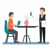 Restaurant Man Waiter Icon. Flat Illustration Of Restaurant Man Waiter Vector Icon For Web Design poster