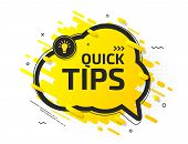 Quick Tips, Helpful Tricks, Hint. Tooltip With Suggestion Of Help. Yellow Banner With Useful Informa poster