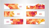 Vector Set Of Banners With Polygonal Geometric Background, Facet, Low Poly, Traingles Headers, Cover poster