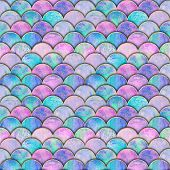 Mermaid Fish Scale Wave Japanese Seamless Pattern. Watercolor Hand Drawn Colorful Background With Go poster