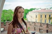 Beautiful Girl During Sightseeing Old Castle In Cracow, Wawel. Summer Time poster