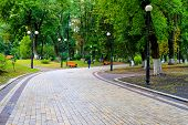 Gray Stone Walkway In The Autumn Park With Orange Benches After The Rain. Mariinsky Park Near The Pa poster