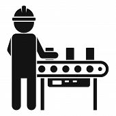 Man Assembly Line Icon. Simple Illustration Of Man Assembly Line Vector Icon For Web Design Isolated poster