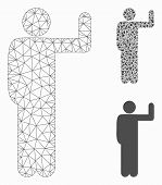 Mesh Vote Pose Model With Triangle Mosaic Icon. Wire Frame Triangular Mesh Of Vote Pose. Vector Mosa poster
