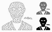 Mesh Vampire Model With Triangle Mosaic Icon. Wire Carcass Polygonal Mesh Of Vampire. Vector Mosaic  poster