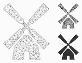 Mesh Wind Mill Model With Triangle Mosaic Icon. Wire Frame Triangular Network Of Wind Mill. Vector C poster
