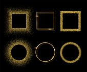 Golden Shiny Round And Square Frames With Shadows Isolated On Black Background. Vector Golden Luxury poster