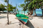 Colorful Wooden Boat On The Coast Of The Island, Maldives, Indian Ocean. Amazing Tropical Holidays I poster