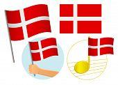 Denmark Flag Icon Set. National Flag Of Denmark Illustration poster