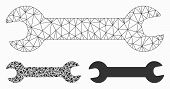 Mesh Wrench Model With Triangle Mosaic Icon. Wire Frame Polygonal Mesh Of Wrench. Vector Mosaic Of T poster