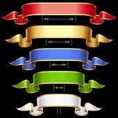 Ribbon set with adjustable length. Vector red, golden, blue, green and white frame isolated on backg