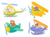 Cute Animals On Air Transport. Animal Pilot, Pet In Helicopter And Airplane Journey Kids. Aircraft V poster