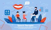Speech Therapist Practice, Didactic Aids Correction And Treatment Trendy Flat Vector Vector Banner,  poster
